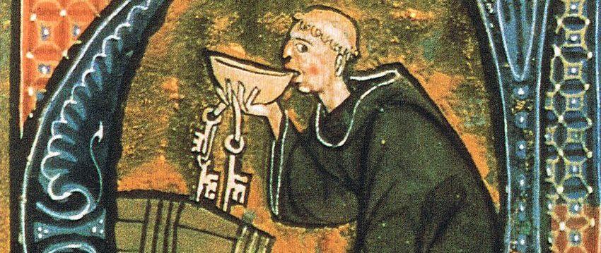Mönch vor einem Bierfass