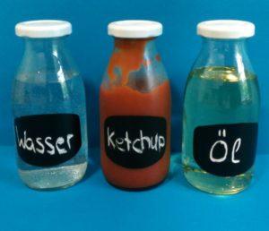 Flüssigkeiten: Wasser, Öl und Ketchup